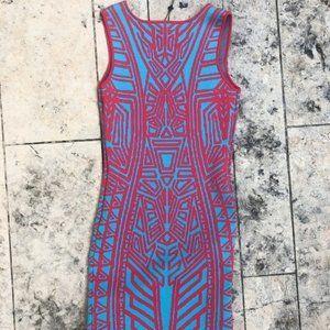 John + Jenn Red & Blue bodycon dress